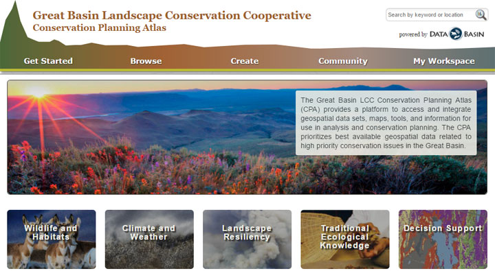 Great Basin LCC Conservation Planning Atlas screenshot