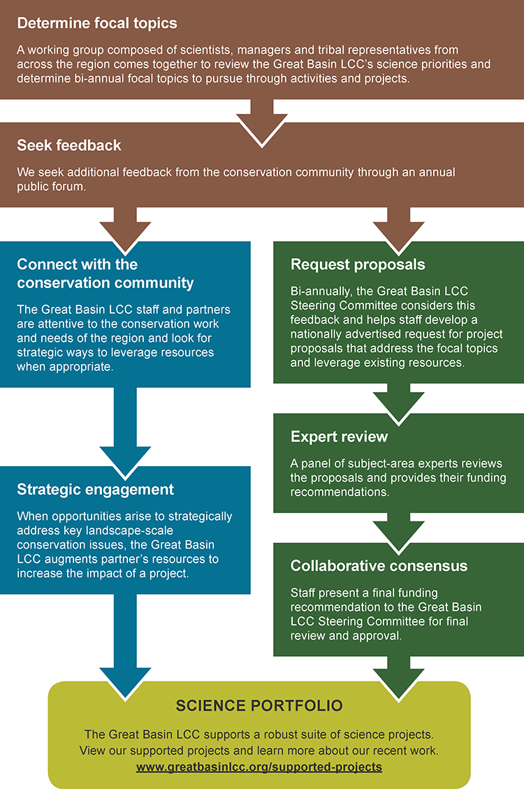 Graphic describing the two approaches the Great Basin LCC uses to identify projects and opportunities to support.