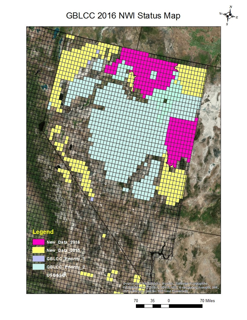Map showing Nevada Wetland Index Status map, showing new data from 2015 and 2016.